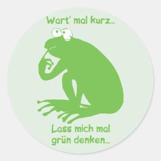 Grün Denken Classic Round Sticker