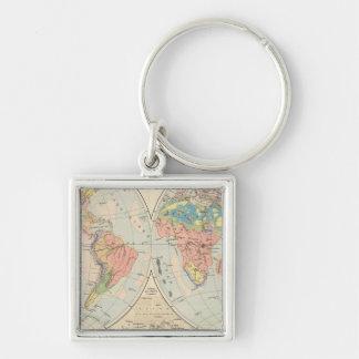 Grund u Boden - Soil Atlas Map Silver-Colored Square Keychain