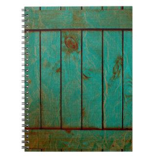 grundgy worn wood background spiral notebook