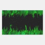 Grüne Flammen am Sternenhimmel Rechteckige Sticker