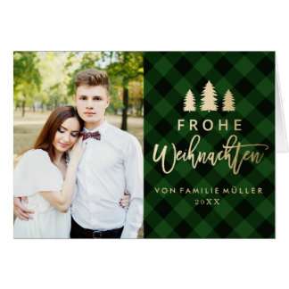 Grüne Karierte | Weihnachtskarte Card