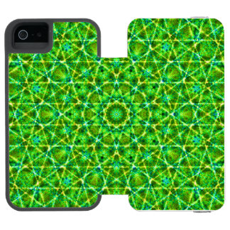 Grünes Netz Kaleidoscope/Green Kaleidoscope Net iPhone SE/5/5s Wallet Case