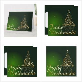 Grünes Weihnachtsmotiv mit goldenem Weihnachtsbaum