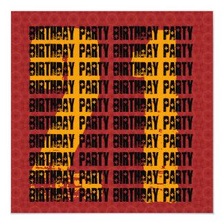 Grunge 21st Birthday Red Black Gold W1005 Invitation