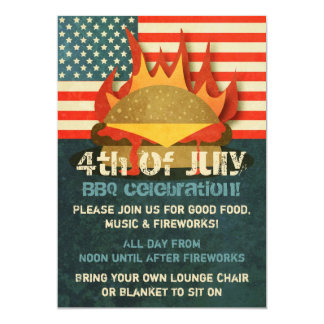 Grunge 4th of July BBQ Party Invitations