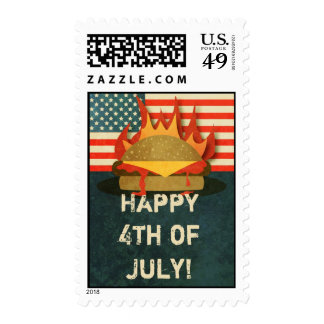 Grunge 4th of July BBQ Party Stamps