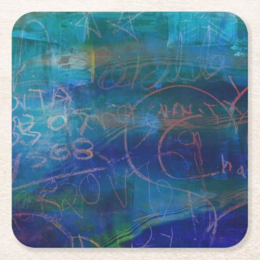 Beach Themed Grunge Abstract Chalkboard Blue Green Coaster