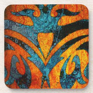 Grunge Abstract Wood and Swirls Coaster
