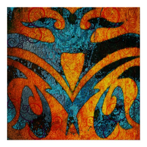 Grunge Abstract Wood and Swirls Poster