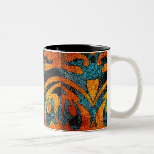 Grunge Abstract Wood and Swirls Two-Tone Coffee Mug