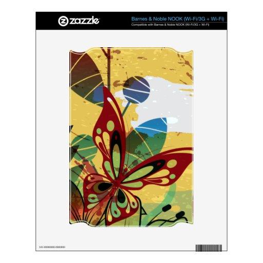 Grunge abstracto floral del vector de la mariposa calcomanía para NOOK