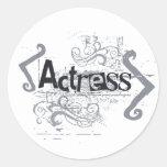 Grunge Actress Round Stickers
