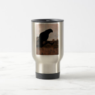 Grunge African Grey Parrot Silhouette Travel Mug