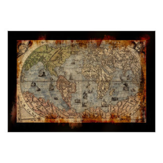 Grunge Aged Old World Map Authentic Art Poster
