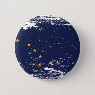 Grunge Alaska Flag Pinback Button