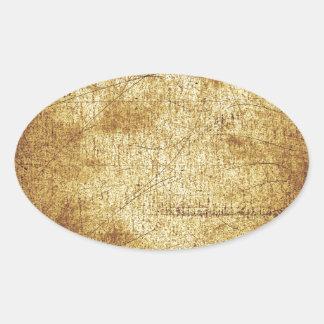 Grunge amarillo marrón retro fresco apenado pegatina ovalada