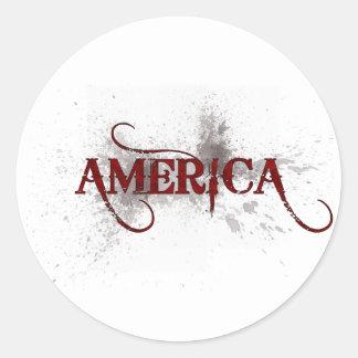 Grunge América de la sangría Pegatina Redonda