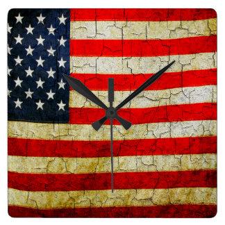 Grunge America flag clock