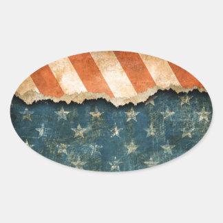 Grunge America Flag Pattern Oval Sticker