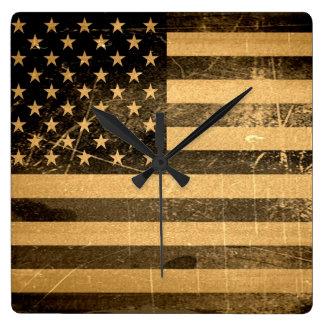 Grunge American flag 4 Clocks