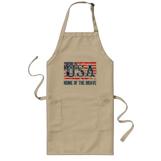 Grunge American flag BBQ apron | Home of the brave