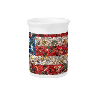 grunge american flag beverage pitcher