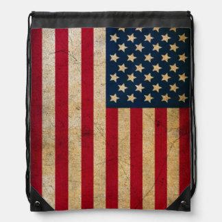 Grunge American Flag Drawstring Backpack