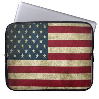 Grunge american flag laptop sleeves