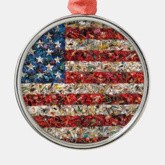 grunge american flag metal ornament