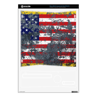 Grunge American Flag on Metal Xbox 360 S Console Decal