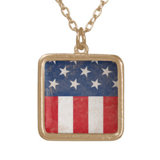 Grunge American Flag Patriotic USA Gold Plated Necklace