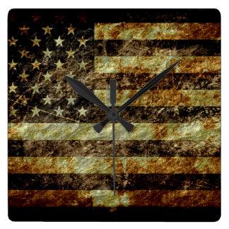 Grunge American flag Square Wall Clock
