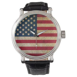 Grunge American Flag Vintage Leather Strip Watch