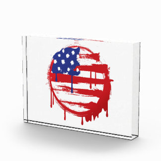 Grunge American Flag with Running Color Drips Award