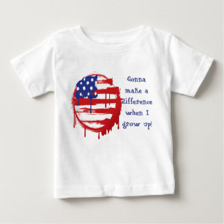 Grunge American Flag with Running Color Drips Baby T-Shirt