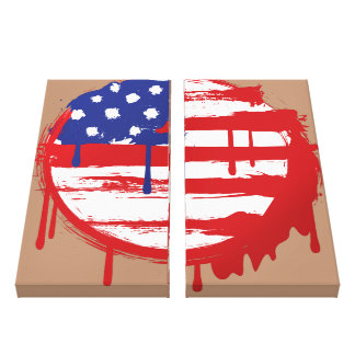 Grunge American Flag with Running Color Drips Canvas Print