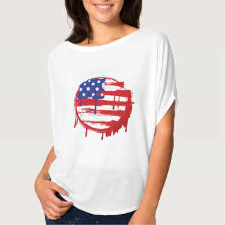Grunge American Flag with Running Color Drips T-Shirt