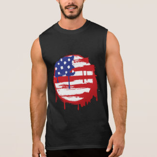 Grunge American Flag with Running Color Drips Sleeveless T-shirt