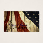 Grunge American Flag Wood Construction Business Card at Zazzle