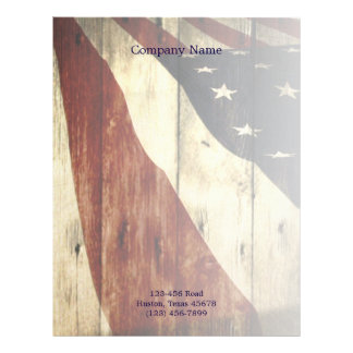 grunge american flag wood construction business letterhead