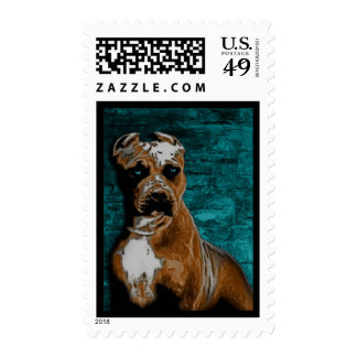 Grunge American Pitbull Terrier Postage