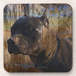 Grunge American Staffordshire Terrier Pitbull Beverage Coaster