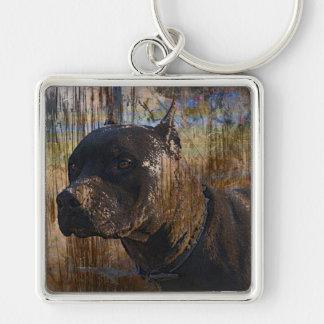 Grunge American Staffordshire Terrier Pitbull Keychain