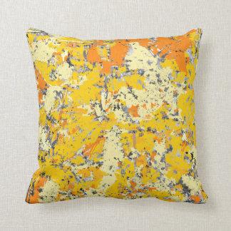 Grunge anaranjado y amarillo cojín decorativo