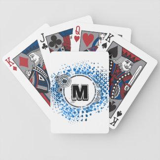 Grunge and Circles - Customizable Urban Monogram Bicycle Playing Cards