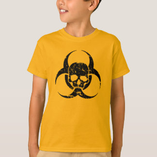 Grunge and Distressed Biohazard Symbol and a skull T-Shirt
