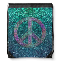 Grunge and Glitter Peace Sign Backpack