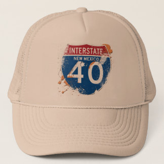 GRUNGE AND PAINT SPLATTER I-40 NEW MEXICO SIGN TRUCKER HAT