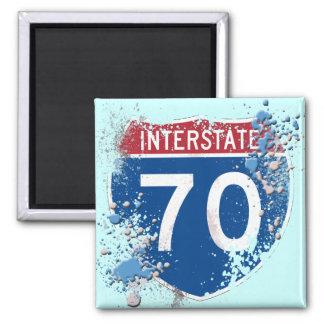 GRUNGE AND PAINT SPLATTER I-70 SIGN MAGNET