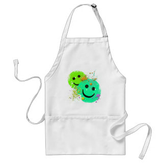 GRUNGE AND PAINT SPLATTER SMILEY'S ADULT APRON